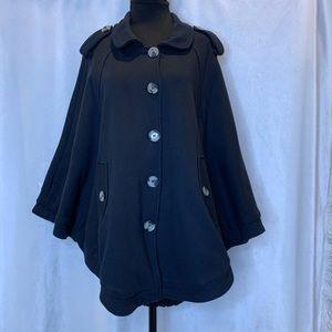 Groggy black cotton button down batwing cape